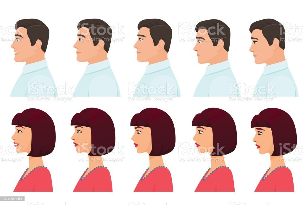 Hombres Y Mujeres Perfil Conjunto De Expresiones De