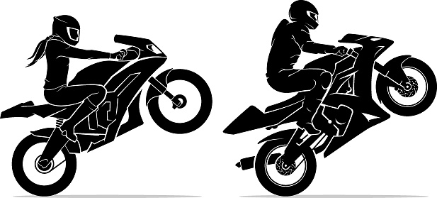 Male and Female Ride Sports Motorcycle Extreme