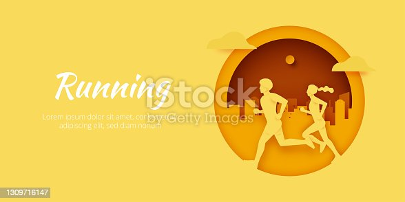 Male and Female running on pathway in city park.Healthy lifestyle, outdoor activity for marathon, city run, training.Paper art vector illustration.