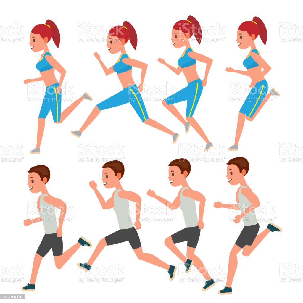 Male And Female Running Vector Animation Frames Set Sport Athlete ...