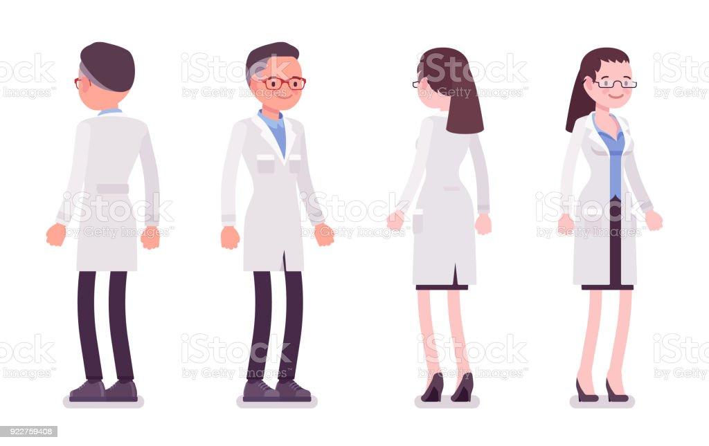 Macho y hembra científico permanente - ilustración de arte vectorial