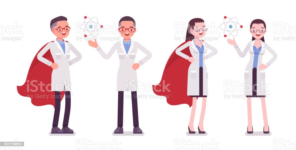 Male and female scientist with symbols vector art illustration
