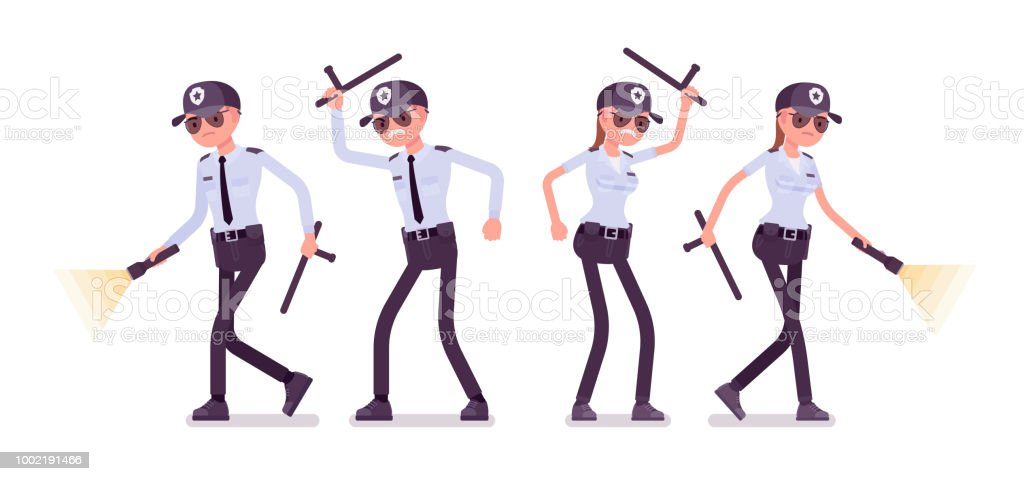male and female security guard working stock vector art more