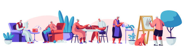 남성 및 여성 고위 사람들은 간호 가정 참여 취미 음악 듣기, 회화, 체스, 뜨개질에서 시간을 보내고. 여가의 즐거움을 가진 노인 캐릭터. 만화, 평면 벡터 일러스트 - nursing home stock illustrations