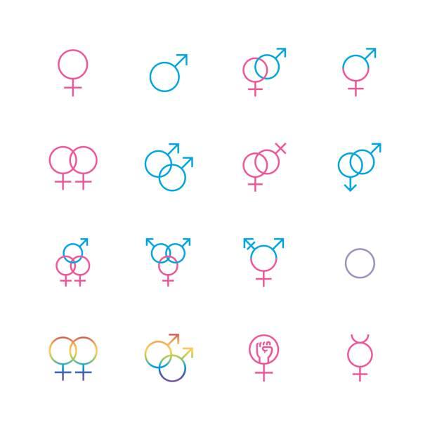 ilustrações, clipart, desenhos animados e ícones de conjunto de ícones sexuais masculino e feminino em estilo de linha fina - lgbt