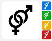 Male and Female Signs Icon. This 100% royalty free vector illustration features the main icon pictured in black inside a white square. The alternative color options in blue, green, yellow and red are on the right of the icon and are arranged in a vertical column.