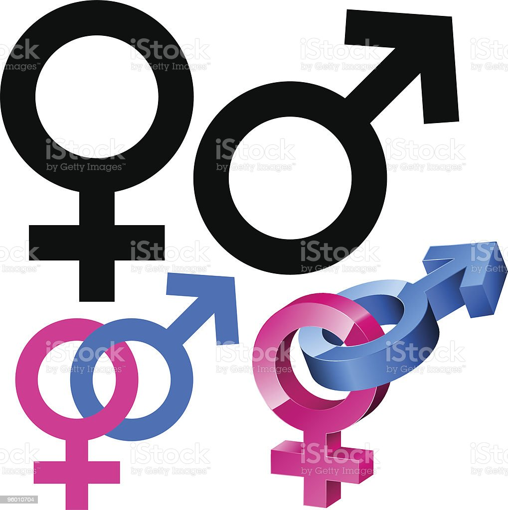 Male and female signs vector art illustration