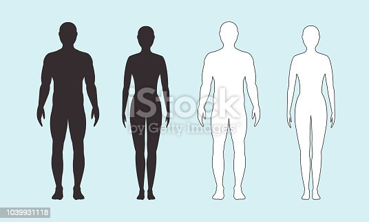 Male and female silhouette on blue background. Vector flat illustration. man and a woman.