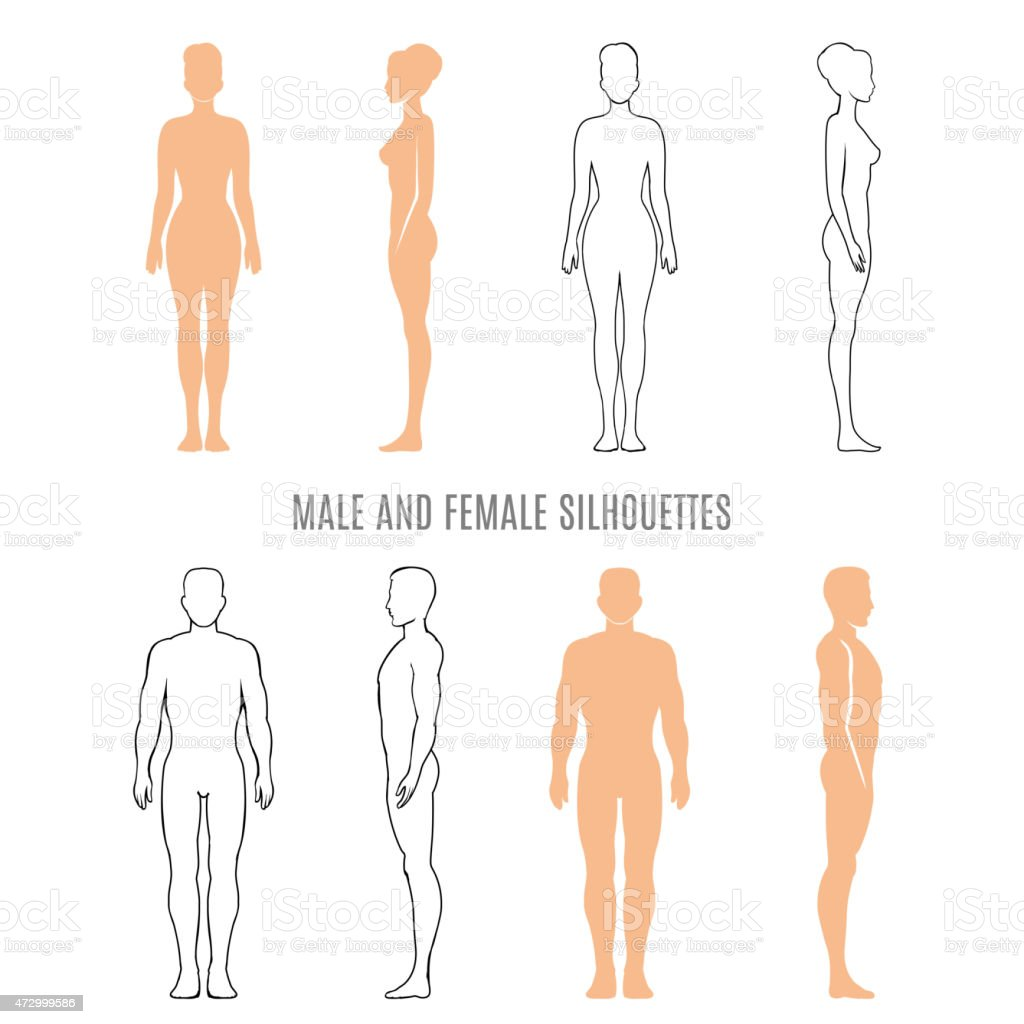 Male and female silhouettes vector art illustration