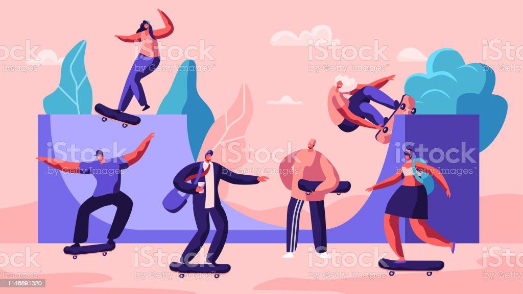 Personnages de skateboard masculin et féminin. Les adolescents de patinage élégant faisant des cascades et des astuces, sautant à grande vitesse sur des planches. Activité estivale extrême, skateboard. Illustration de vecteur plat de dessin animé - clipart vectoriel de Activité libre de droits