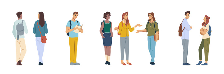Male and female student characters talking and communicating, isolated girls and boys reading books and chatting. Flirting couple and walking personage with satchels. Vector in flat cartoon style