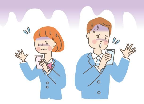 illustrazioni stock, clip art, cartoni animati e icone di tendenza di male and female students who seem uneasy to see mobile phones - two students together asian