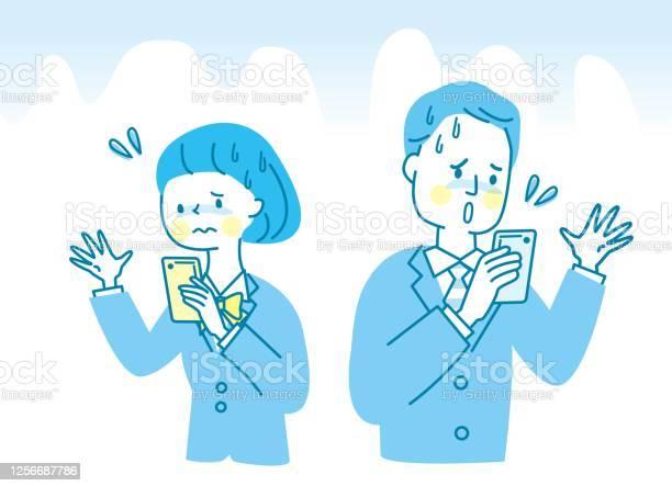 Male And Female Students Who Seem Uneasy To See Mobile Phones - Immagini vettoriali stock e altre immagini di Adulto