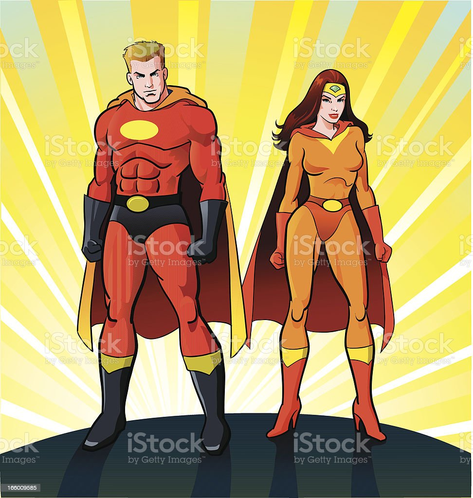 Male and Female Super Heroes vector art illustration