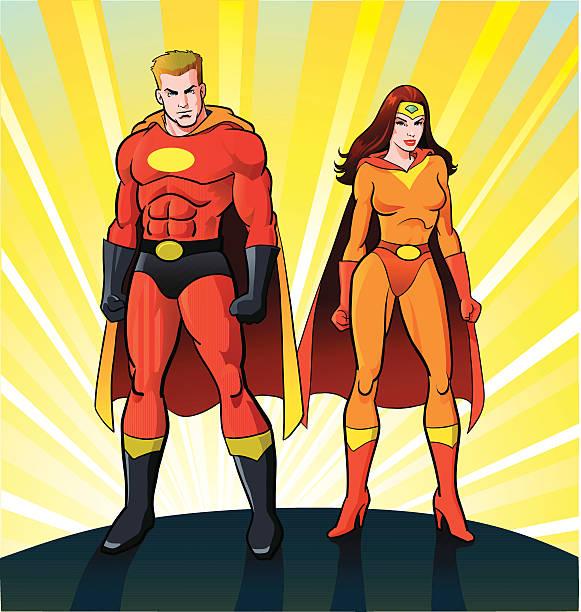 männliche und weibliche super-helden - superwoman stock-grafiken, -clipart, -cartoons und -symbole