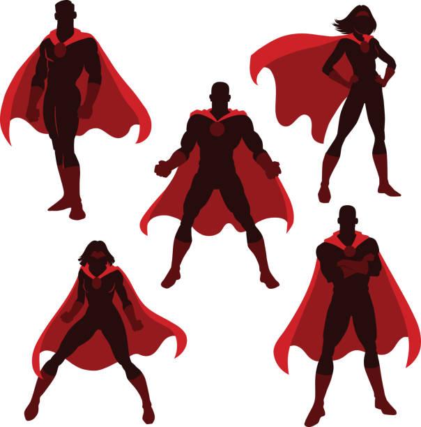 illustrations, cliparts, dessins animés et icônes de silhouettes de super-héros masculins et féminins - super héros