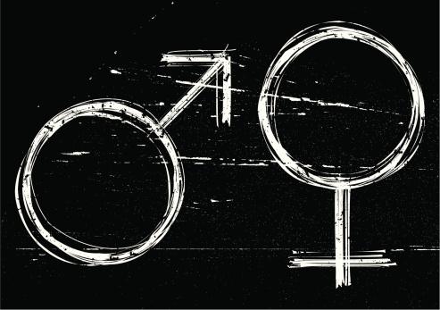 Male And Female Symbols On Black Grunge Background Stock Illustration - Download Image Now