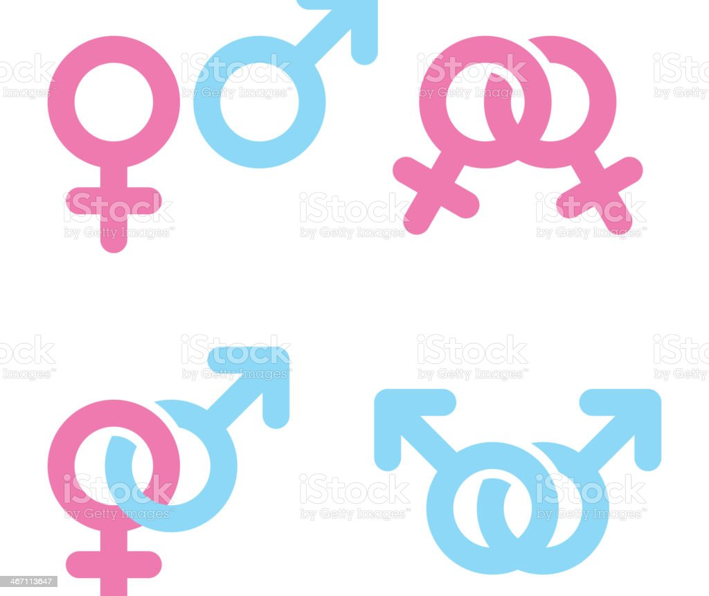 Male and female symbols on corner of white background royalty-free stock vector art