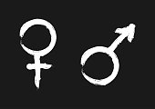 istock Male and female symbols. Sign of sexual identity. 869909074