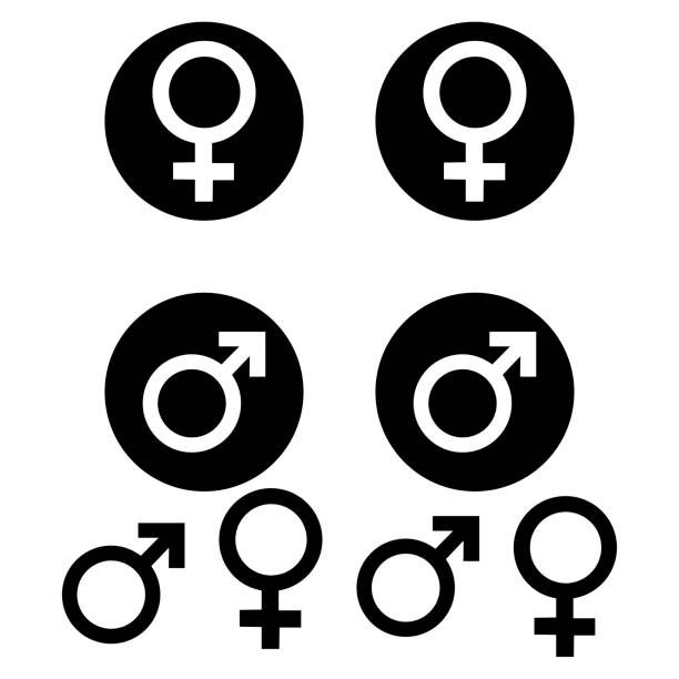 male and female symbols - zmysłowość stock illustrations