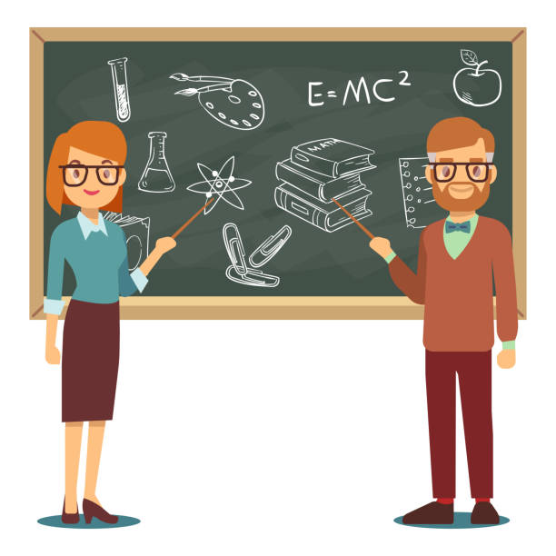 ilustrações, clipart, desenhos animados e ícones de ilustração do vetor de professores masculinos e femininos, em frente a lousa de escola em branco - professor