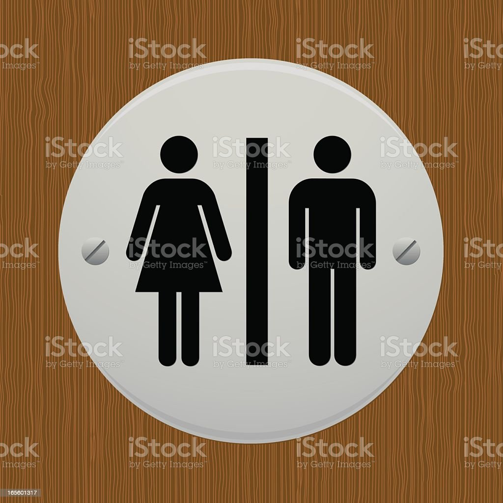 Male and female toilet sign on a door vector art illustration