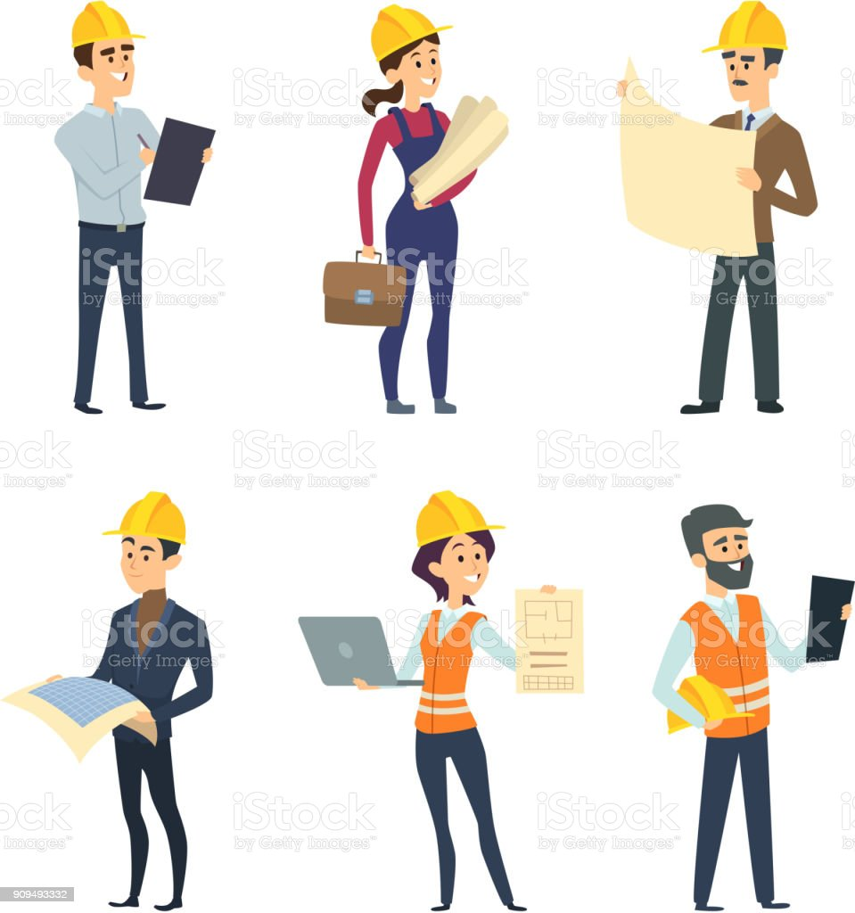 Male and female workers of engineers and other technician professions vector art illustration