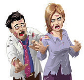 Vector illustration of an ugly male and female zombie, walking towards the camera, isolated on white.