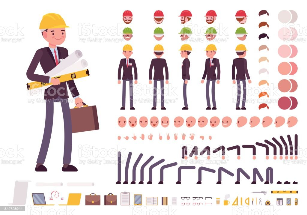 Male architect in business suit and protective helmet. Character creation set vector art illustration