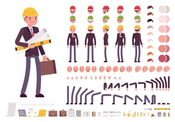 male architect in business suit and protective helmet. character creation set - architect stock illustrations, clip art, cartoons, & icons