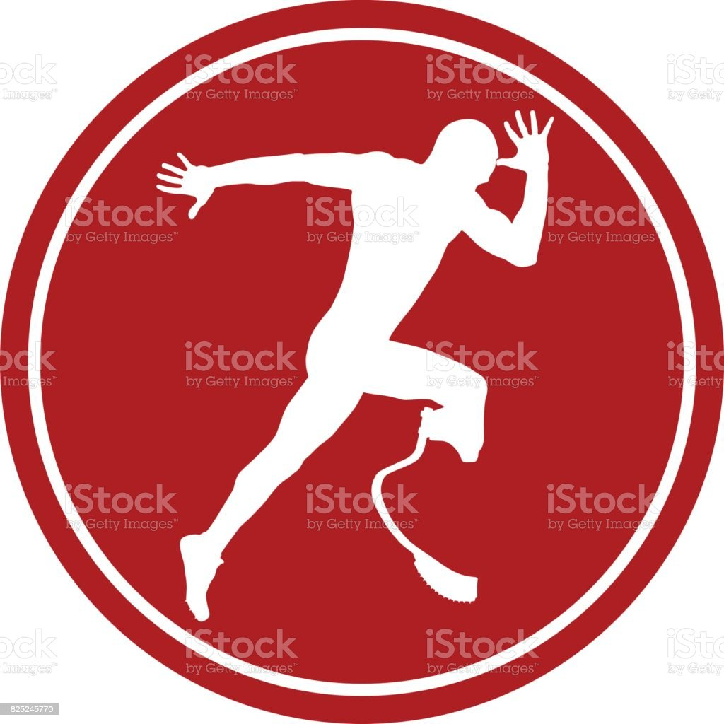 male athlete disabled amputee an explosive start vector art illustration