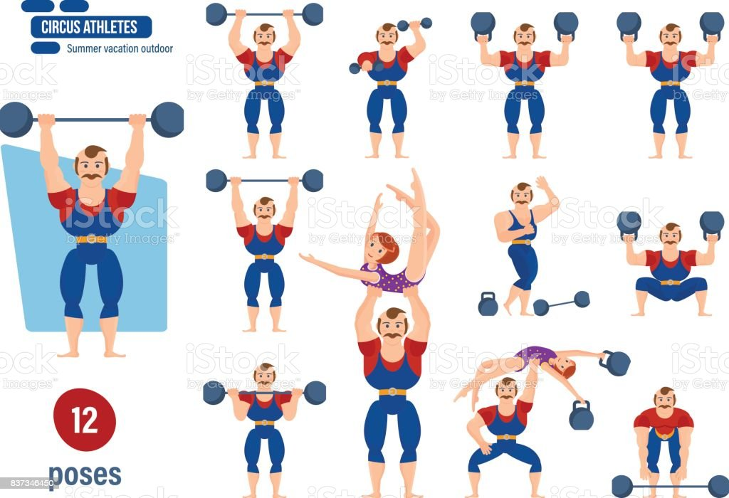 Male athlete, entertains audience, showing strength exercises with dumbbells vector art illustration