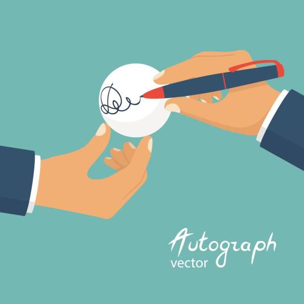 Un athlète masculin donne un autographe - Illustration vectorielle