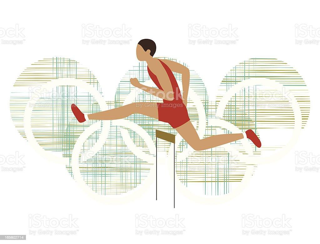 Male athlete hurdling royalty-free stock vector art