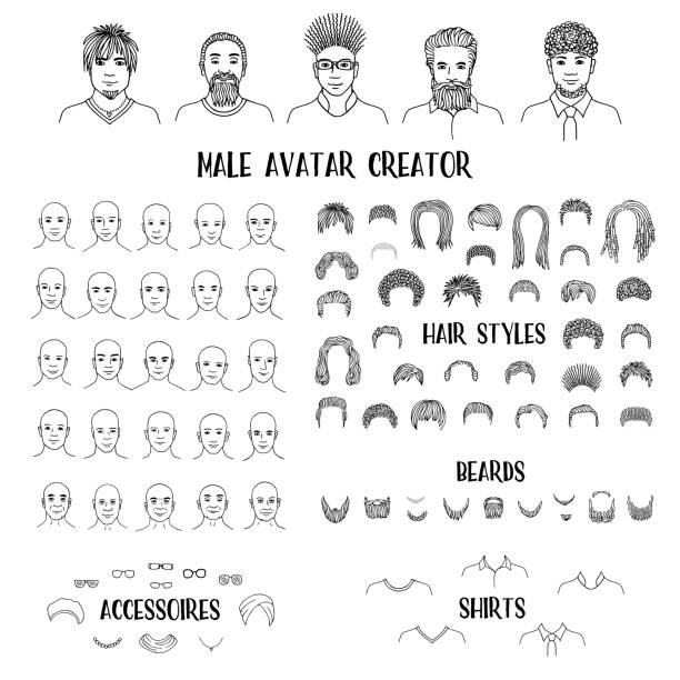 Male avatar creator vector art illustration