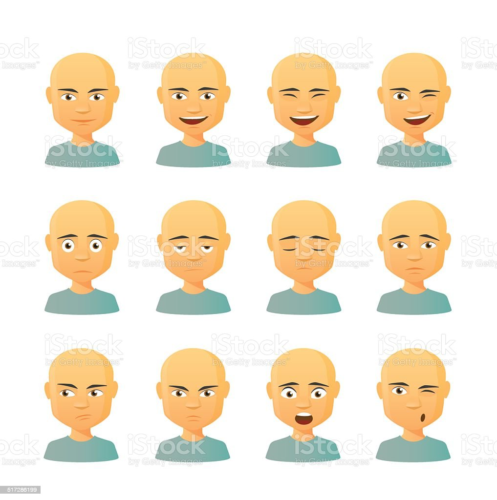 Male avatar expression set vector art illustration