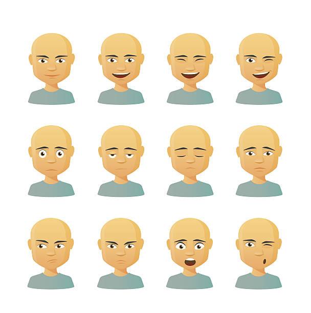 stockillustraties, clipart, cartoons en iconen met male avatar expression set - kaal geschoren hoofd