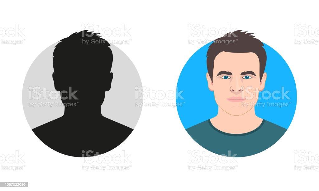 Silhouette Visage Masculin Ou Icône Profil Davatar De Lhomme Personne Inconnue Ou Anonyme Illustration Vectorielle Vecteurs libres de droits et plus