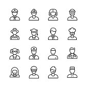 16 Male Avatar Outline Icons. Avatar, Man, Profile, Human Head, Human Face, Policeman, Construction Worker, Manual Worker, Judge, Lawyer, Thief, Farmer, Student, Professor, Teacher, Office Worker, Accountant, Chef, Scientist, Soldier, General, Fitness Instructor, Doctor, Customer Support, Concierge.