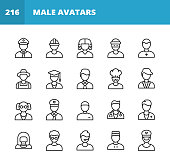 20 Male Avatar Outline Icons. Avatar, Man, Profile, Human Head, Human Face, Policeman, Construction Worker, Manual Worker, Judge, Lawyer, Thief, Farmer, Student, Professor, Teacher, Office Worker, Accountant, Chef, Scientist, Soldier, General, Fitness Instructor, Doctor, Customer Support, Concierge.