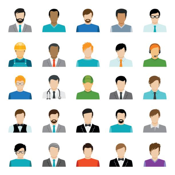 Male Avatars Collection vector art illustration