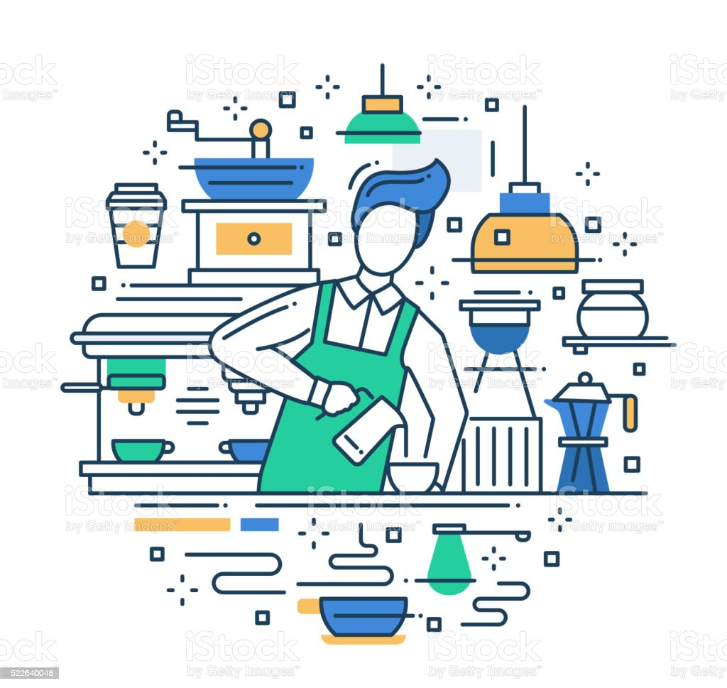 Male barista making coffee - line design composition vector art illustration