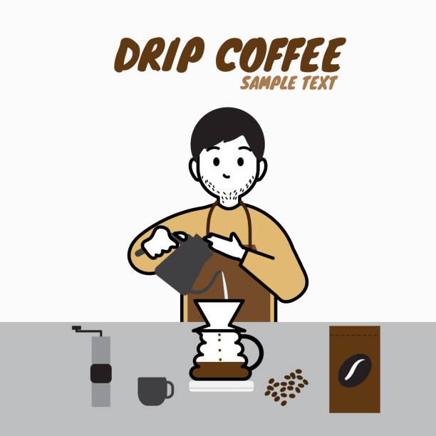 コーヒー、手動 brew ドリップ コーヒー、アクセサリーを作って無精ひげひげ男性バリスタ - バリスタ点のイラスト素材/クリップアート素材/マンガ素材/アイコン素材