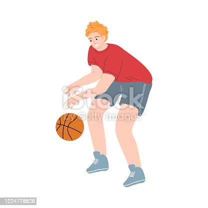 Male basketball player in a red t-shirt dribbling the ball by hand. Vector illustration in the flat cartoon style