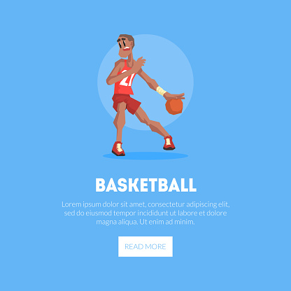 Male Basketball Player in Sports Uniform Playing with Ball Banner Template, Design Element Can Be Used for Landing Page, Mobile App, Website Vector Illustration