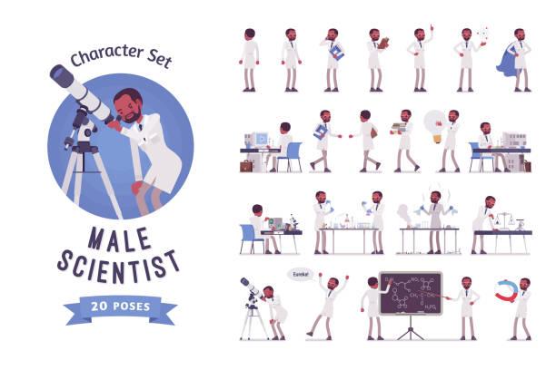 ilustrações de stock, clip art, desenhos animados e ícones de male black scientist ready-to-use character set. - scientist