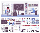 Male black scientist working in laboratory, office interior creation kit, workspace set to build your own design, wall and floor color constructor elements. Cartoon flat style infographic illustration