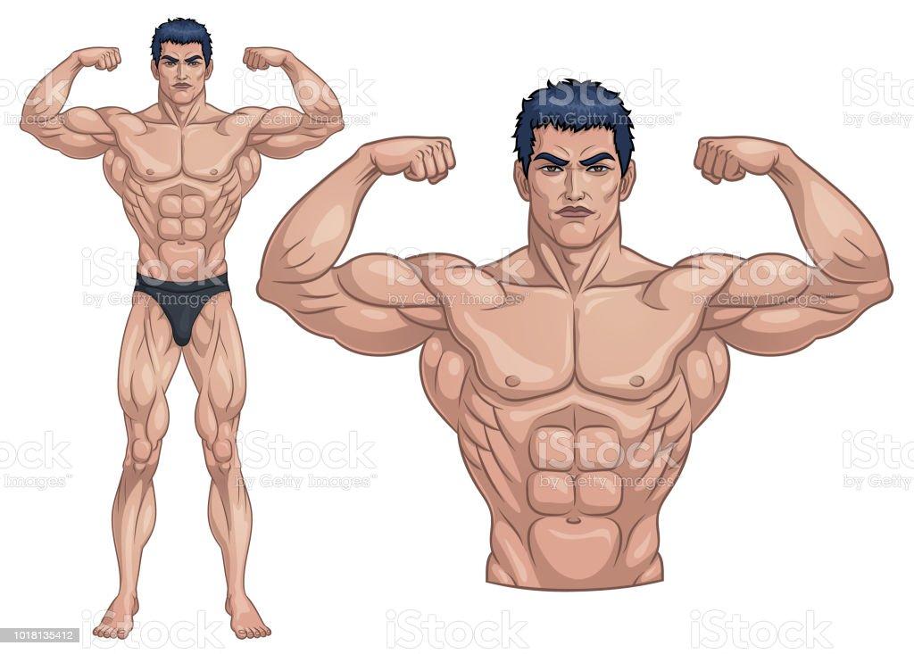 Männlichen Bodybuilder voll Body_Vector Illustration EPS 10 – Vektorgrafik