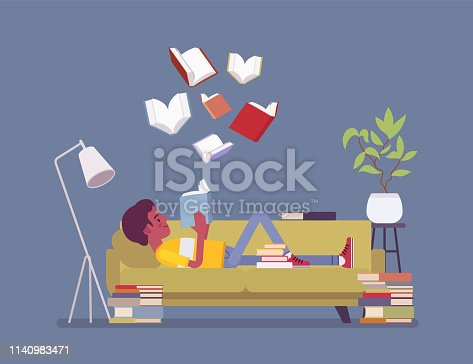 Male book reader. Young boy reads for pleasure lying on sofa, enjoys free time around literary pages of stories, novels, open volumes floating above, home interior or library room. Vector illustration