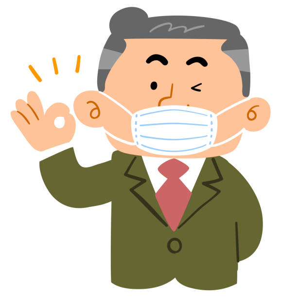 male boss of an office worker wearing a mask - old man mask stock illustrations, clip art, cartoons, & icons